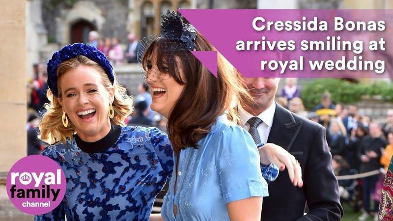 Cressida Bonas arrives smiling at royal wedding