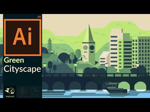 Flat Design   Green Cityscape Artwork Using Basic Shapes in Adobe illustrator