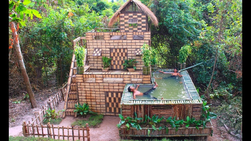 Build Beautiful Swimming pool House Villa Using wooden in Will