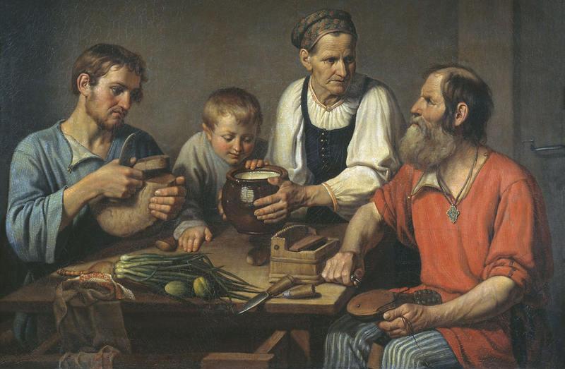 Солнцев Ф.. Крестьянское семейство перед обедом. 1824