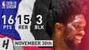 Joel Embiid Full Highlights 76ers vs Wizards 2018.11.30 - 16 Pts, 15 Reb, 3 Blocks!