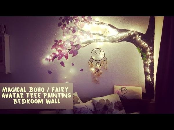 Magical Boho / Fairy / Avatar Tree Painting on Bedroom Wall