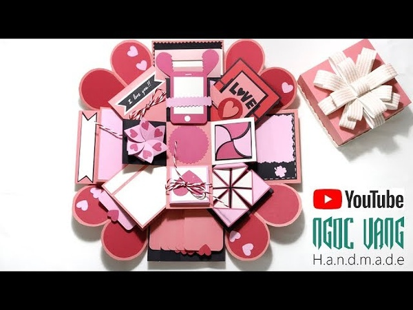 Hướng dẫn làm LOVE BOX hồng pastel Explosion Box Tutorial NGOC VANG