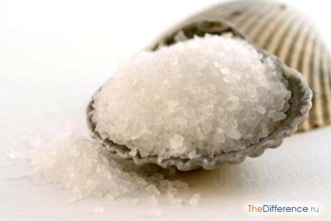 Разница между сахаром и солью