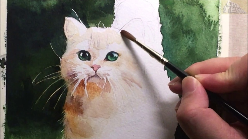 Watercolor animal painting of cat (speed 5x painting)- 고양이 수채화 채색