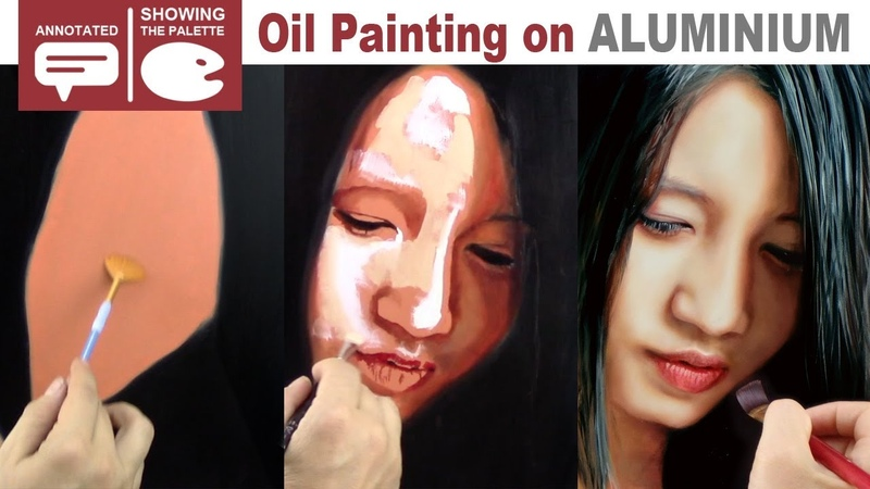 OIL PAINTING ON ALUMINIUM ✦ PORTRAIT ART DEMO VIDEO ✦ From flat colours to photo realism (annotated)