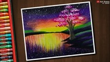 Step by Step Colourful Landscape Drawing with Oil Pastels