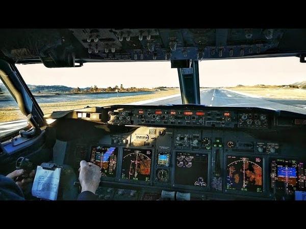 Boeing 737-600 COCKPIT! Baby Boeing Take Off from Bergen Flesland Airport