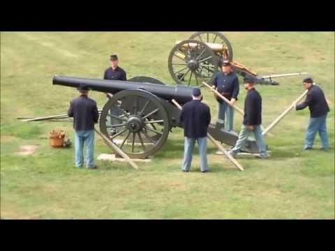 Firing the 30 pounder rifled Parrott cannon at Fort Pulaski GA