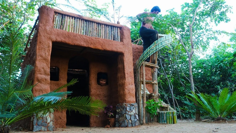Building The Most Luxury Ancient Villa House for the winter using mud