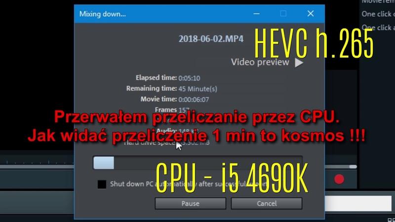 Magix Video Pro X v 10 - test kodowania h.264 vs HEVC h.265