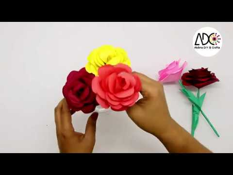 How to Make a Rose Easy from Paper - DIY Paper Flowers making Tutorial