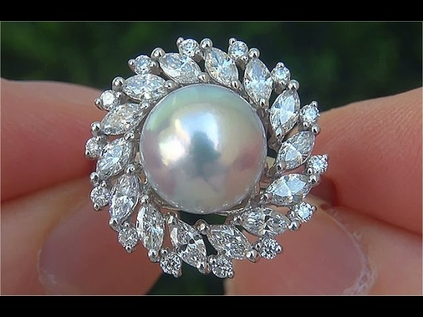 GIA Certified Natural SILVER Akoya Pearl Diamond PLATINUM Estate Ring - C840