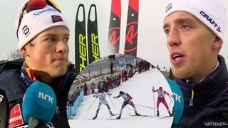 Johannes Høsflot Klæbo vs Calle Halfvarsson ski pole episode - sprint [F] - Lillehammer 2018