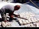 Versetzen von 3-farbigen Gebraucht-Pflastersteinen aus Granit