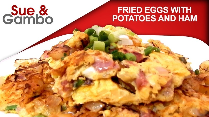 Fried Eggs with Potato and Ham