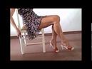 Red hooves stiletto heels and bare feet and crossed legs Kız bacak gösterisi