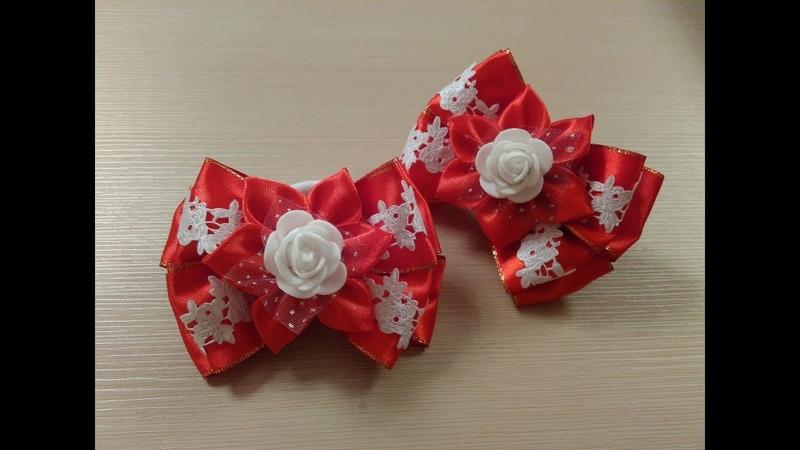 Красивые бантики из атласных лент МК Канзаши Beautiful satin ribbon bows