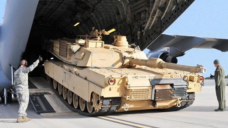 Loading 70 Tons Abrams Onto Gigantic US AirCraft C 17 Globemaster III