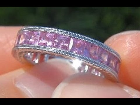 CERTIFIED Pink Sapphire Eternity Ring Band Solid 14K Gold