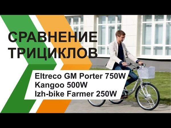 Сравнение 3-х колёсных электровелосипедов: Eltreco GM Porter 750W, Kangoo 500W, Izh-bike Farmer 250W
