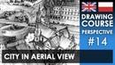 Drawing tutorial City in aerial view Kurs rysunku Miasto z lotu ptaka S01E14 ENG PL