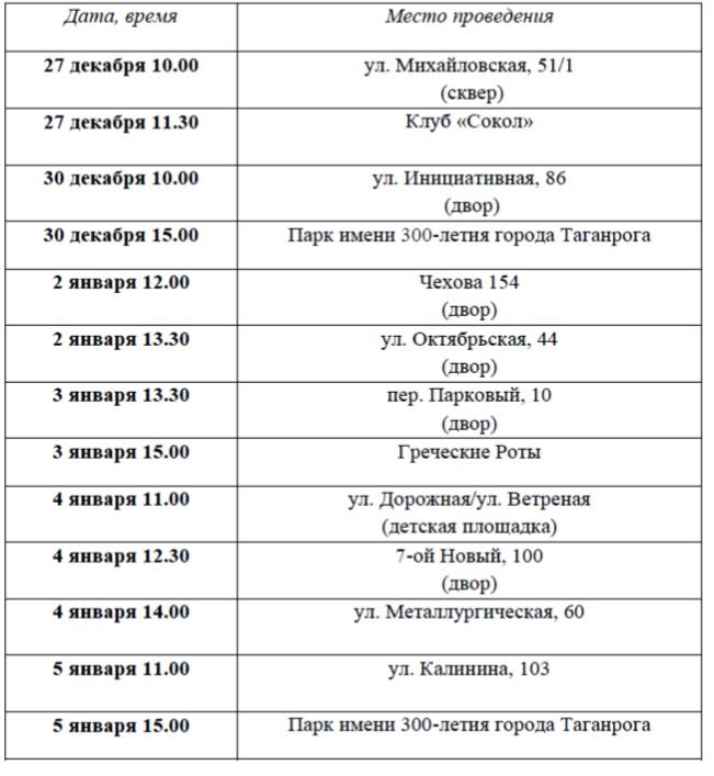 В микрорайонах города Таганрога пройдут новогодние праздники