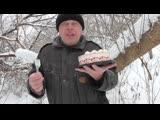 Зимний день, Геннадий Горин кушает торт на природе, январь 2019 год