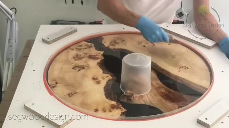Epoxy round coffee table - black epoxy and poplar
