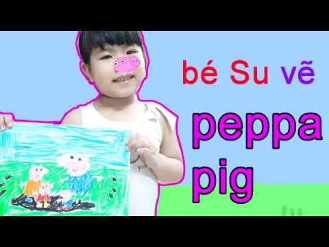 Bé Su tô màu peppa pig nhân vật chú lợn hồng ngộ nghĩnh