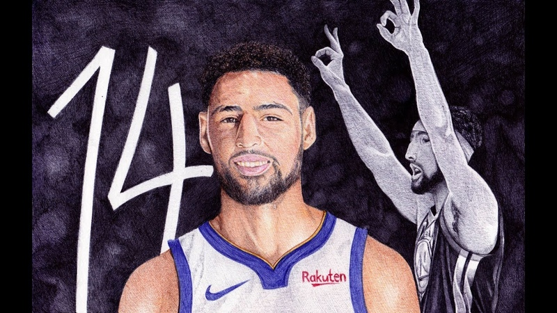 Klay Thompson UNREAL NBA RECORD 14 Threes! Ballpoint Pen Drawing