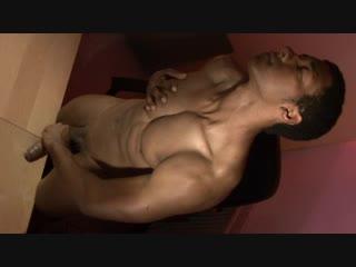 Sexy dude jerking off his black dick #gayporn