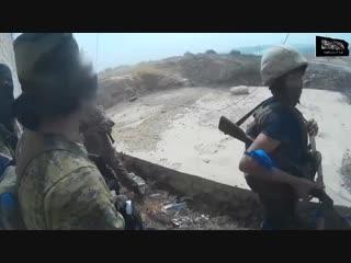 Сирия.Архив.Трассирующая пуля попала в гранату РПГ-7 боевика