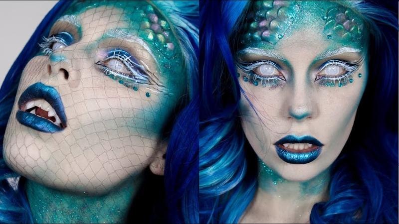 Mermaid Halloween Makeup Easy Fish Scale Prosthetics Fangs Tutorial