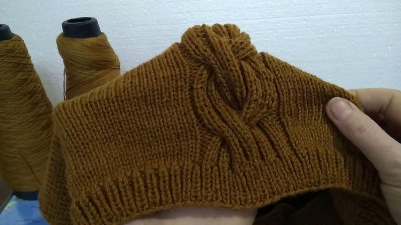 МК двустороннего бесшовного свитера с центральным узором. Коса 8х8х8)