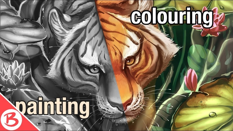 Painting and Colouring a Tiger with Gradient Maps