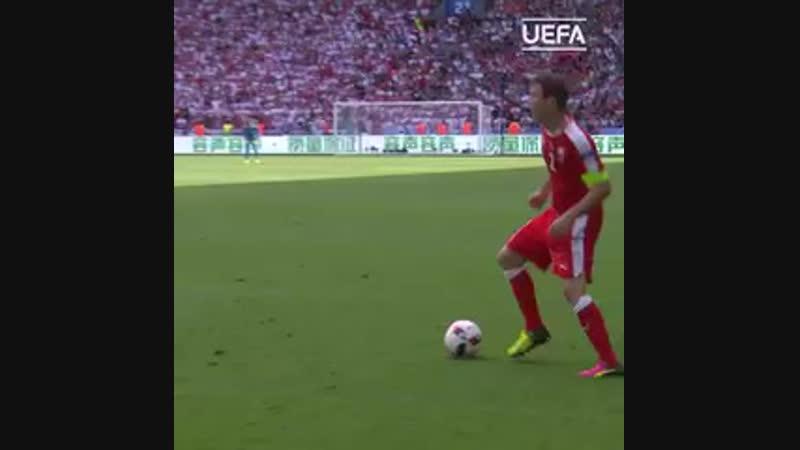 Outrageous Xherdan Shaqiri goal from EURO 2016! - - 76 ️ 22 ️ 19 - - Wish him a happy birthday! - - NationsLeague @XS_11official