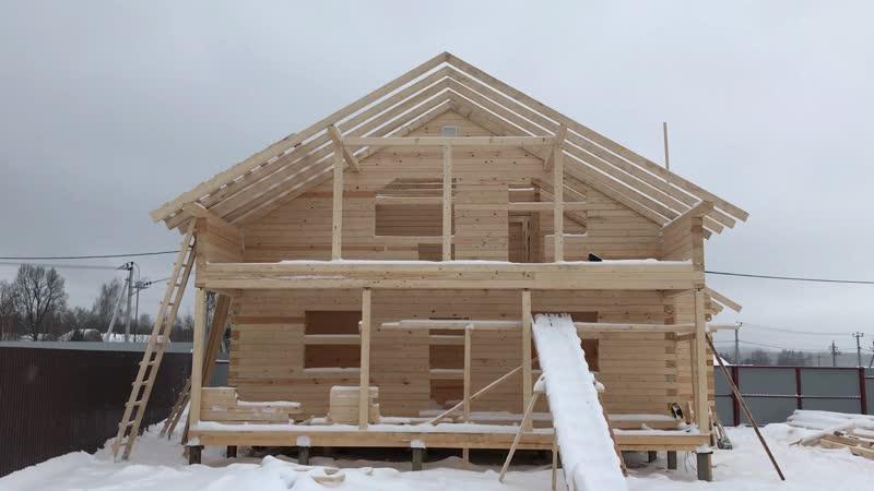 Возведение 2-х этажного деревянного дома из профилированного бруса