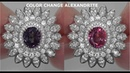 GIA CERTIFIED Estate VVS Natural Color Change Alexandrite Diamond 14k White Gold Ring A131633