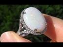 Coober Pedy Mined Australian Opal Diamond Art Deco Ring
