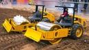 AMAZING RC MODEL ROLLER COMPACTORS DOZER TRACTORS IN BIG SCALE!! 2x RC DOZER CAT CP74B