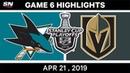 NHL Highlights | Sharks vs. Golden Knights, Game 6 - April 21, 2019