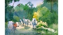 Watercolor Painting Demonstration A man with cows Prashant Sarkar