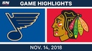 NHL Highlights | Blues vs. Blackhawks – Nov. 14, 2018