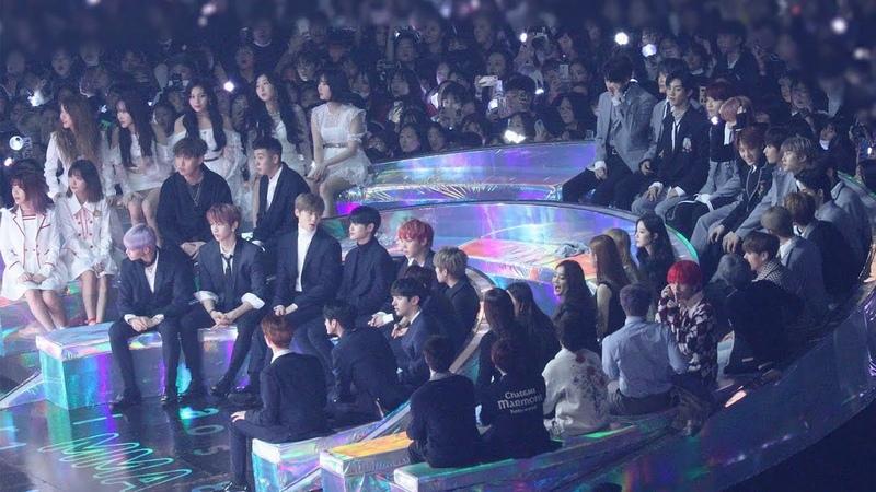 181201 BTS, GFRIEND, WannaOne Reaction to ROY KIM (로이킴 무대보는 방탄소년단 여자친구 워너원) 4K 직캠 by 비몽