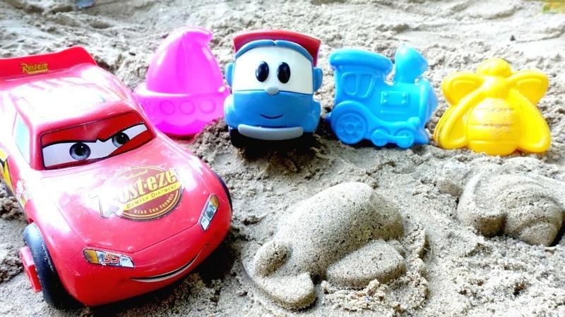 Игры для детей Машинки мультики Лева и Маквин в песочнице