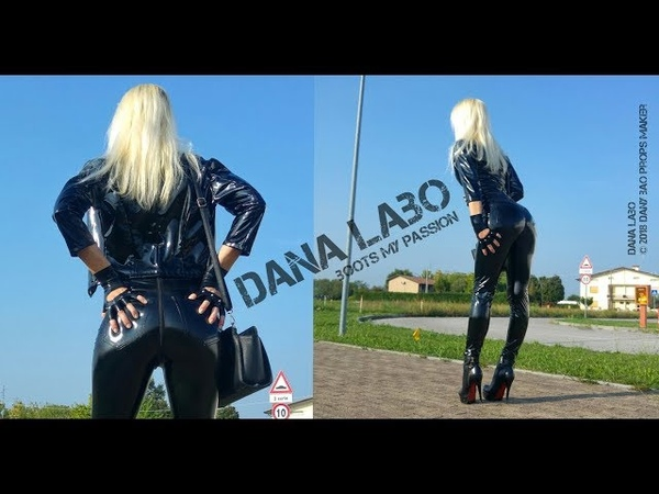 DANA LABO boots my passion walk in shiny leggings and pvc jacket with latex gloves