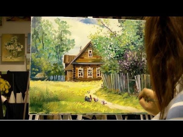 Картина маслом поэтапно Деревенский пейзаж.Rural landscape.Picture