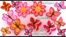 Como tejer a crochet fácil mariposas en punto 3D con flores tejido paso a paso tallermanualperu