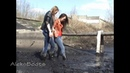 Girls Tanya and Lena playing in rubber boots in spring mud. Part-2(26/04/15)